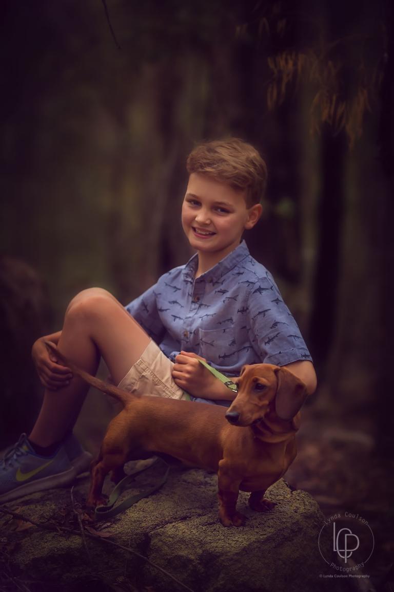 brisbane portrait of boy and dog